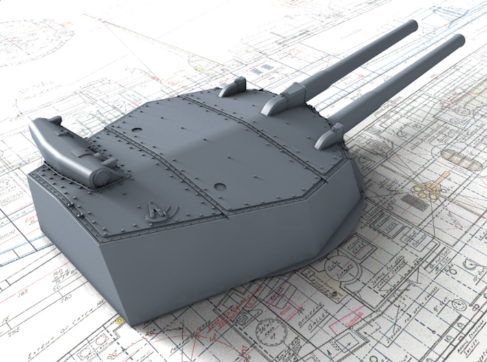 """1/350 HMS Australia/New Zealand 1915 12"""" MKX Guns  3d printed 3d render showing Turret P, Q and Y  detail"""