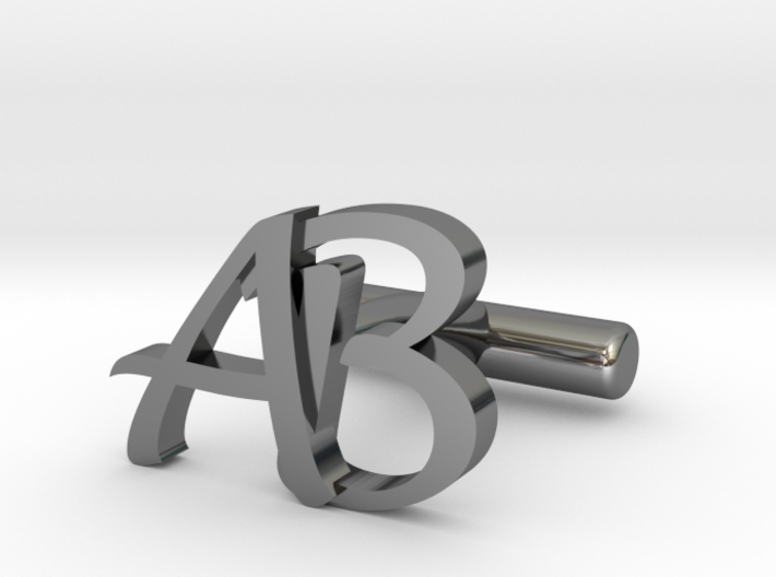 Pair of Cuff link with Initials AB 3d printed