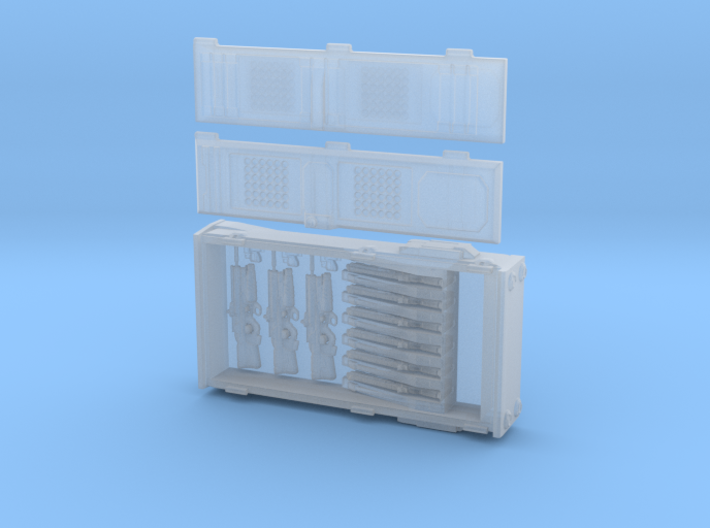 SciFi weapon locker with pulse rifles and other gu 3d printed