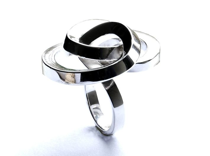 Ring Love is in the AIR Large 3d printed jewellery Silver Ring