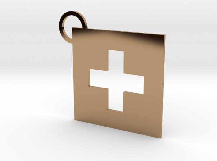 Switzerland Flag Keychain 3d printed