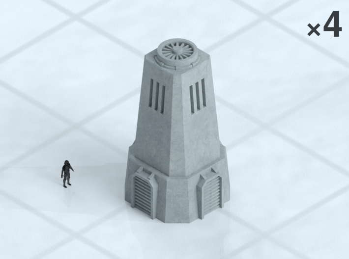 """6mm Cooling Towers (4) 3d printed Shown on 1"""" grid with 6mm figure (not included) for scale."""