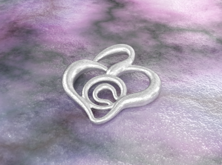 Heart pendant 3d printed raw silver material