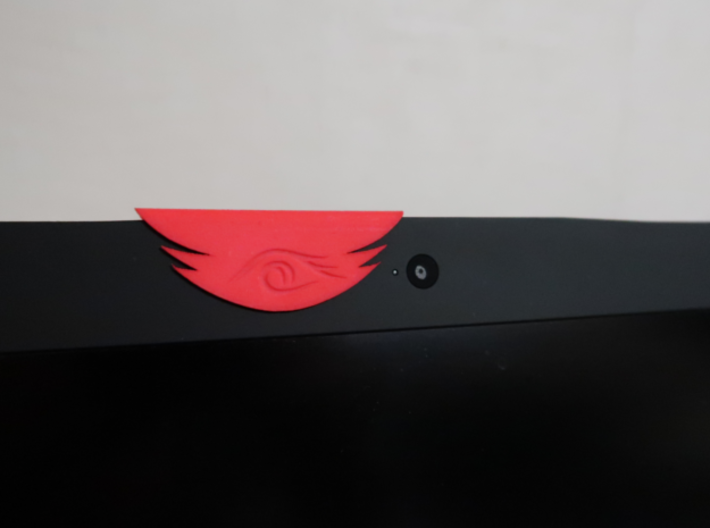 Tribal Eye Webcam Cover (6.7 mm) 3d printed ... and when you're ready to be seen, just slide it aside!