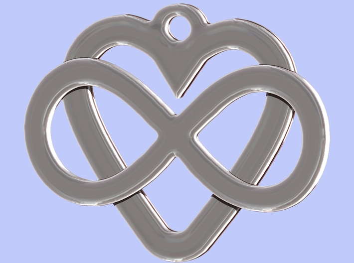 Infinity Heart Pendant  3d printed Render in Silver