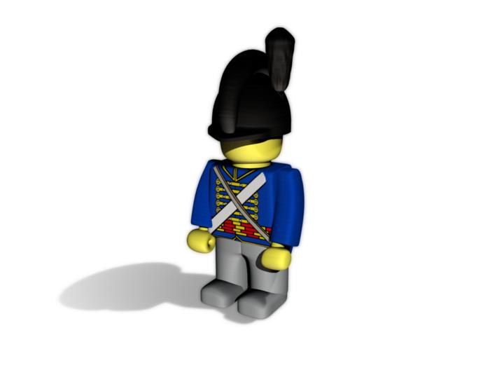 English Horse Artillery Helmet 3d printed Example figurine wearing the helmet in black premium