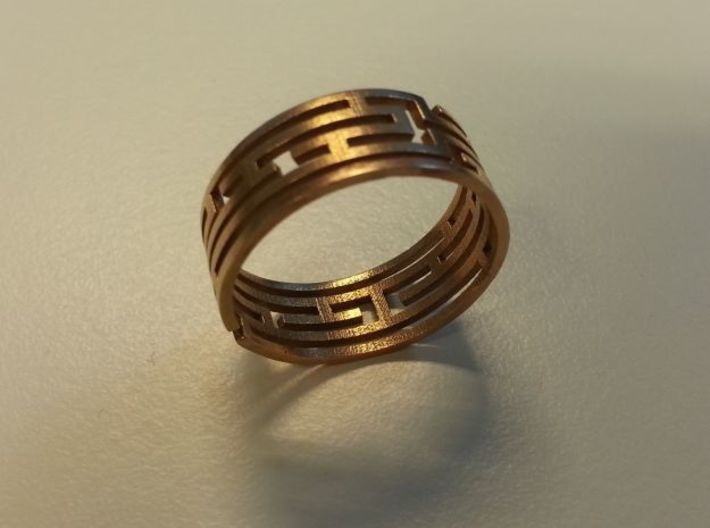 Labyrinth bracelet 3d printed Size 9 in bronze