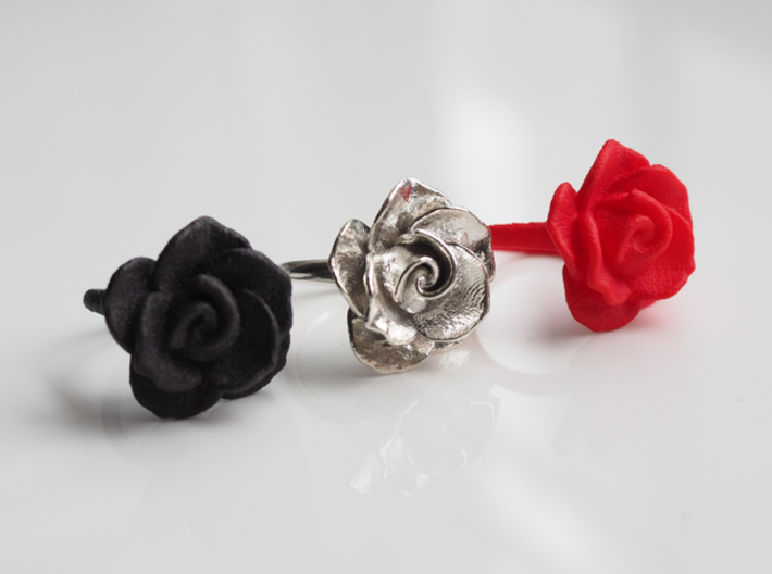 Blossoming Rose Ring 3d printed Matte Black Steel, Polished Silver, Red Strong and Flexible