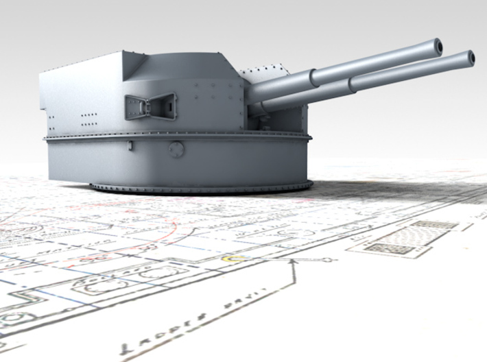 "1/325 Battle Class 4.5""/45 QF MKIV RP10 Gun x2 3d printed 3d render showing product detail"