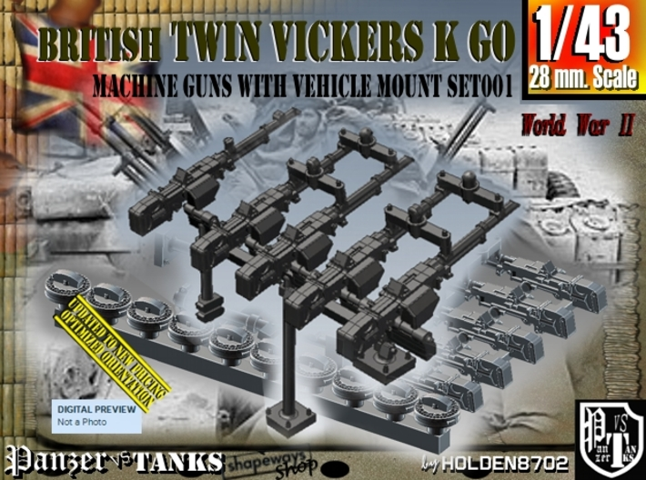 1/43 Vickers K GO Set001 3d printed