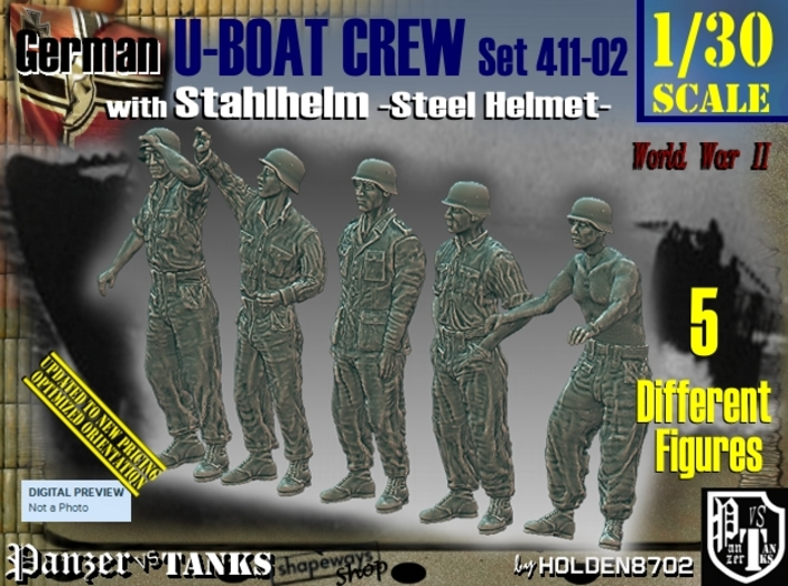 1/30 German U-Boot Crew Set411-02 3d printed