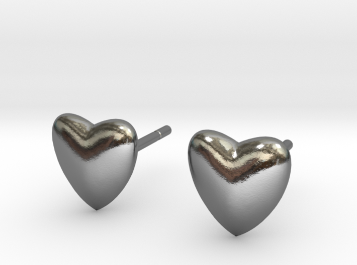 earpins heart 3d printed Silver heart shaped earpins