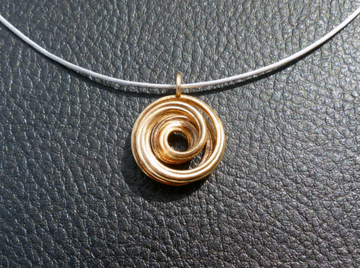Single Strand Spiral Mobius Pendant 3d printed Shown in Polished Bronze