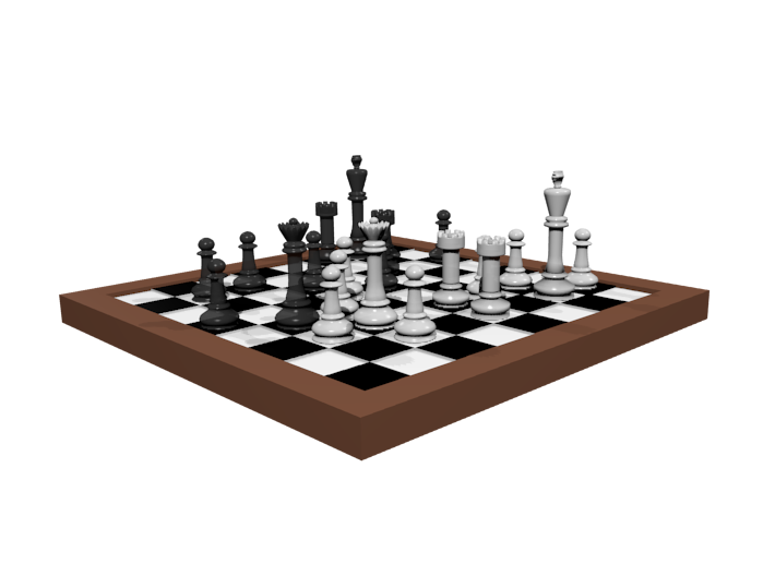1/18 Scale Chess Board Mid-game (v03) 3d printed
