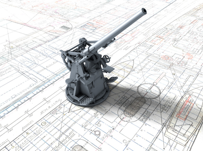 "1/72 12-pdr 3""/45 (76.2 cm) 20cwt Gun 45º 3d printed 3d render showing product detail"