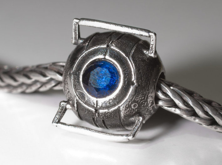 Portal Wheatley Core Bead 3d printed Gem not included, to add detail, use patina solution to create dark crevices and outlines