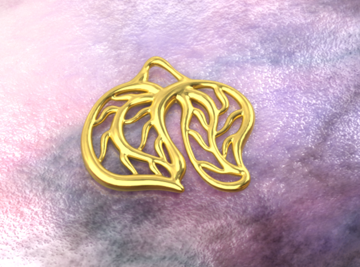 Leaves 3d printed gold material