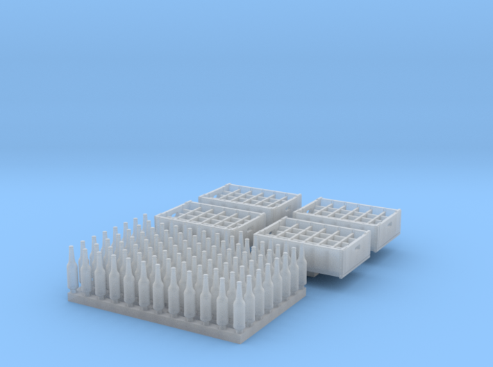 O scale - 96 bottles, 4 crates 3d printed