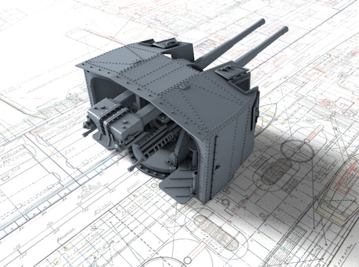 "1/144 Tribal Class 4.7"" MKXII CPXIX Twin Mount x4 3d printed 3d render showing product detail"