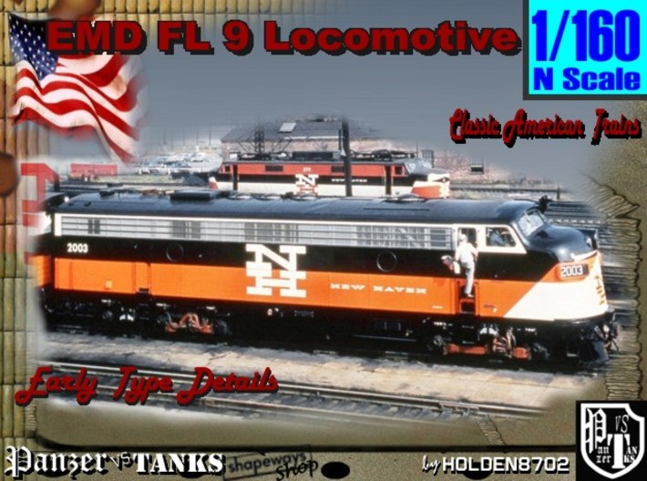 1-160 EMD FL 9 Locomotive 3d printed