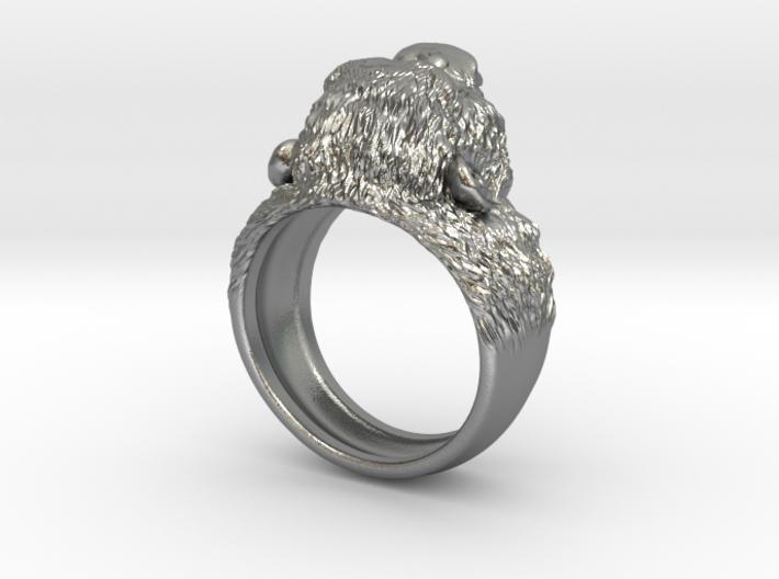 Aggressive Chimpanzee Ring 3d printed
