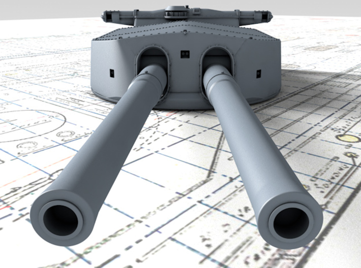 "1/600 HMS Hood 15"" (38.1 cm) Mark II Turrets 1920 3d printed 3d render showing A Turret detail"