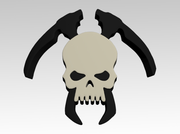 Skull & Scythes Shoulder Icons x50 3d printed Product is sold unpainted.