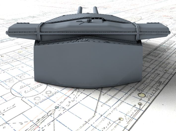 "1/720 HMS Hood 15"" Mark II Turrets 1920 B. Bags 3d printed 3d render showing B Turret detail"