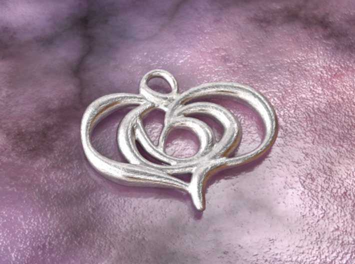 Floating heart 3d printed raw silver material