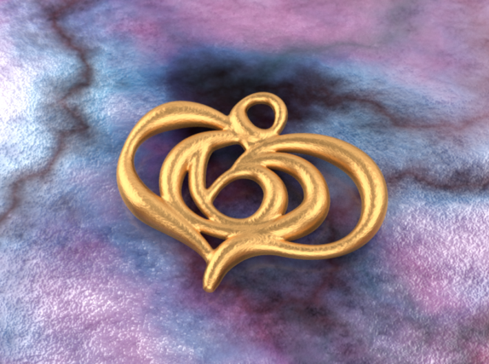 Floating heart 3d printed bronze material