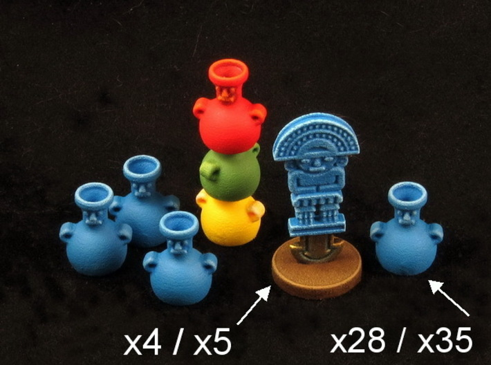 Mayan tech/temple & score tokens (32 - 40 pcs) 3d printed Hand-painted White Strong Flexible Polished.