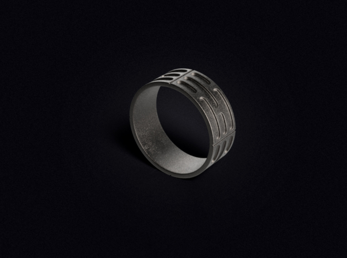 Imperial Wall Pattern Ring 3d printed 3D visualization of the ring in Stainless Steel.