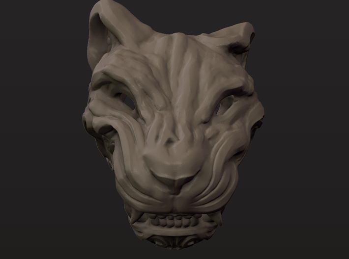 Oni-Tiger Miniature Decorative Noh Mask 3d printed Front Clay Render