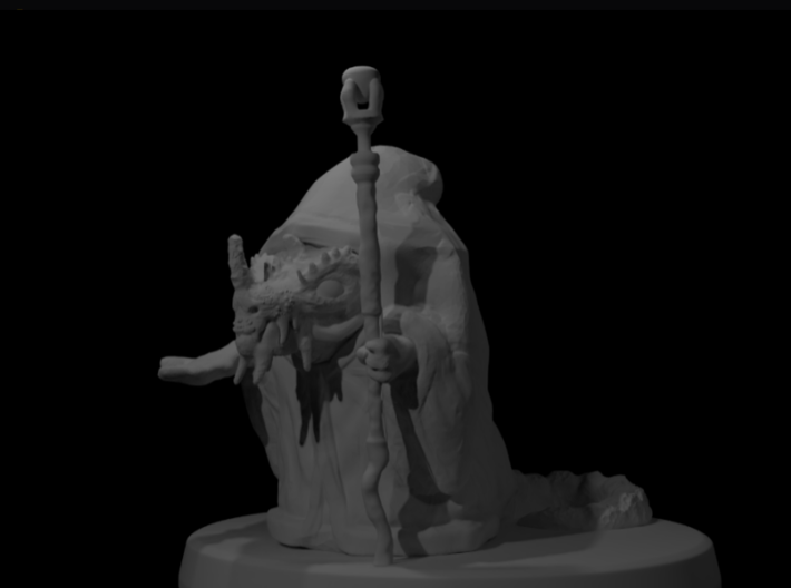 Dragonborn Wizard 3d printed Render of the figure with no paint