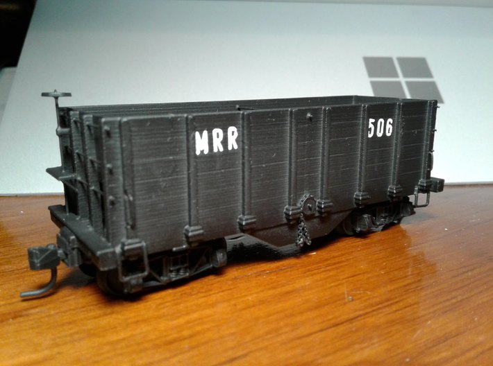 HOn3 hopper/ore car 3d printed Completed and painted model.