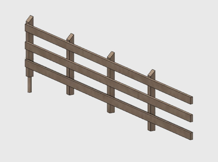 Wood Rail Fence - 4L (2 ea.) 3d printed Part # WRF-003