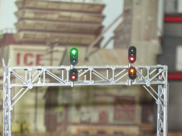 N Scale Signal Gantry 3 tracks 2pc 3d printed Painted and signalled gantry by Custom Signal Systems