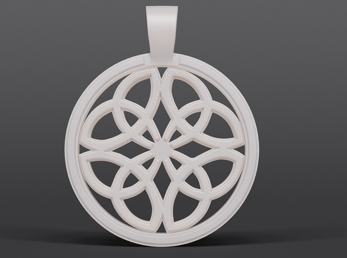 Dara Knot Pendant 3d printed Render of white strong and flexible