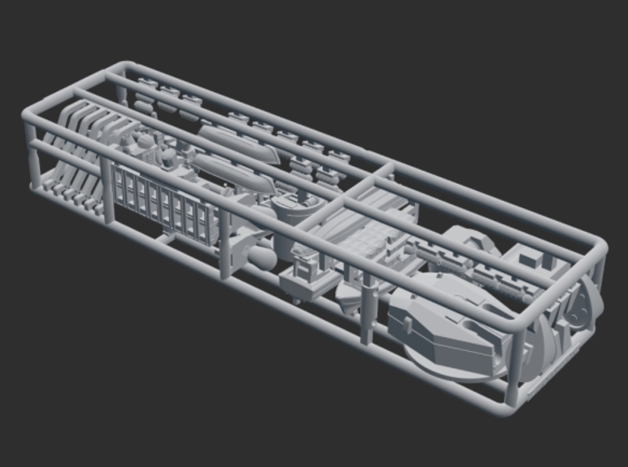 HMS Blake Command Helicopter Cruiser C99. 1/700 3d printed HMS Blake upgrade kit sprue.