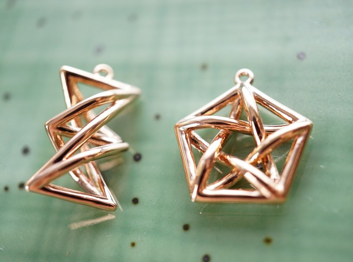 Forbidden Subgraph Earrings 3d printed Forbidden Subgraph Earrings in Rose Gold Plated