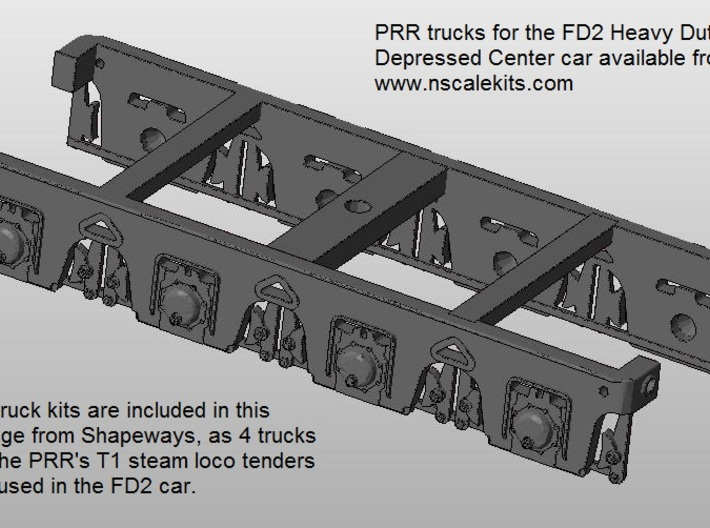 FD2/FW1 PRR railroad trucks x4 from the T1 tender 3d printed Revised Beta version of the FD2 truck [pack of 4]