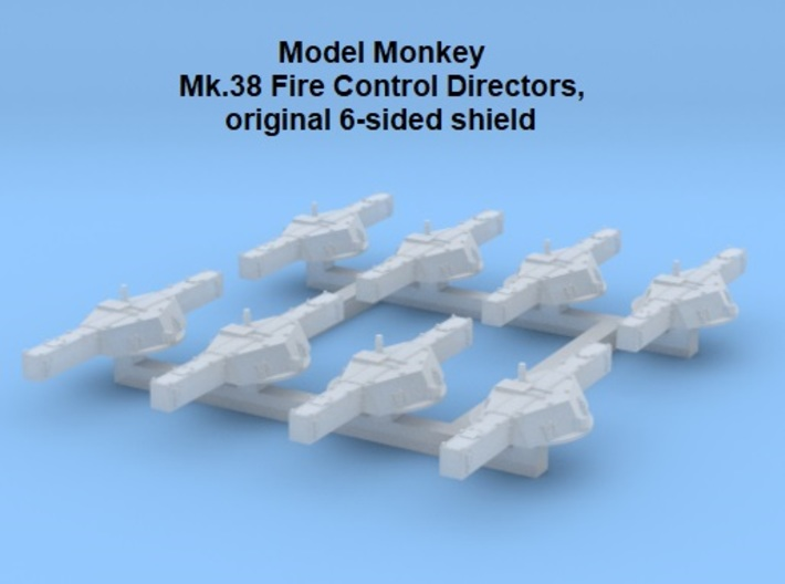 1/700 Mk.38 Directors, original 6-sided shield 3d printed