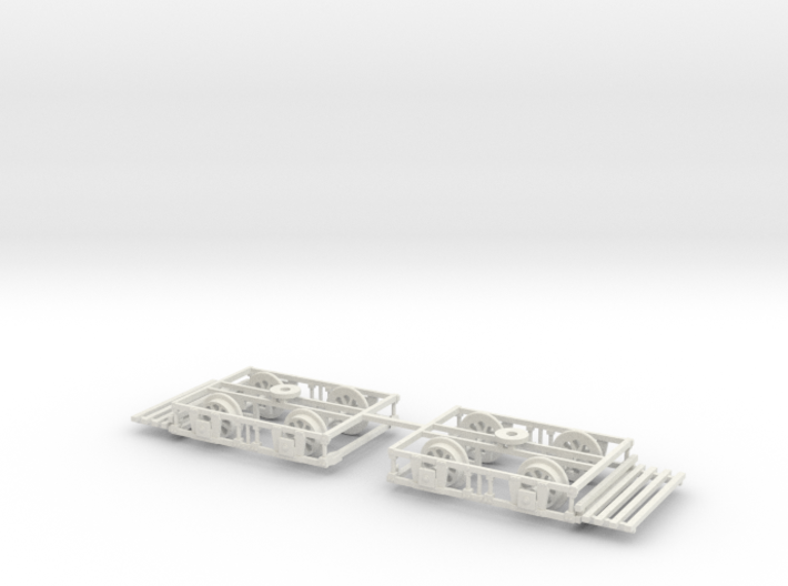 OO scale Lancaster Bogies With Trays And Wheels On 3d printed