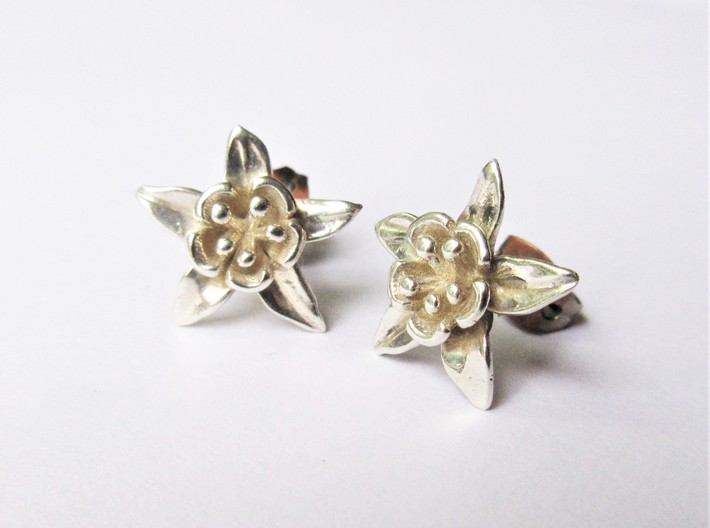 Columbine Flower Earrings 3d printed
