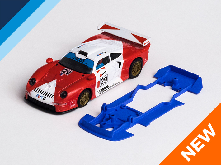 1/32 SCX Porsche 911 GT1 Chassis for Slot.it pod 3d printed Chassis compatible with SCX Porsche 911 GT1 body (not included)
