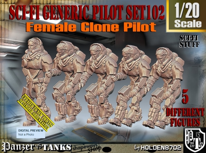 1/20 Sci-Fi Generic Female Pilot Set102 3d printed