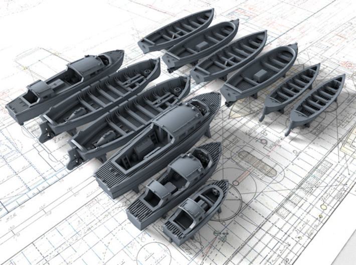 1/700 Scale HMS Victorious Boat Set 3d printed 1/700 Scale HMS Victorious Boat Set