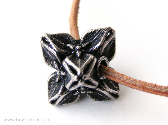 Floral Bead/Charm - Octahedron 3d printed Polished Bronzed-Silver Steel blackened with acrylic ink