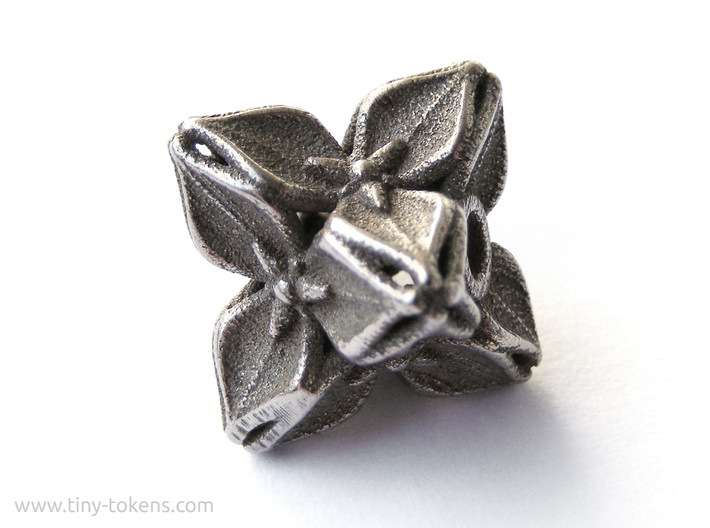 Floral Bead/Charm - Octahedron 3d printed Untreated Polished Bronzed-Silver Steel