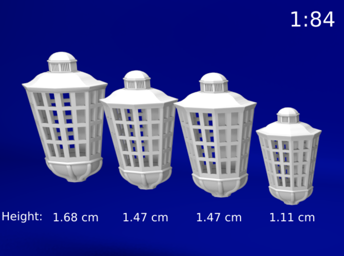 1:84 HMS Victory Lanterns 3d printed Size of each lantern type